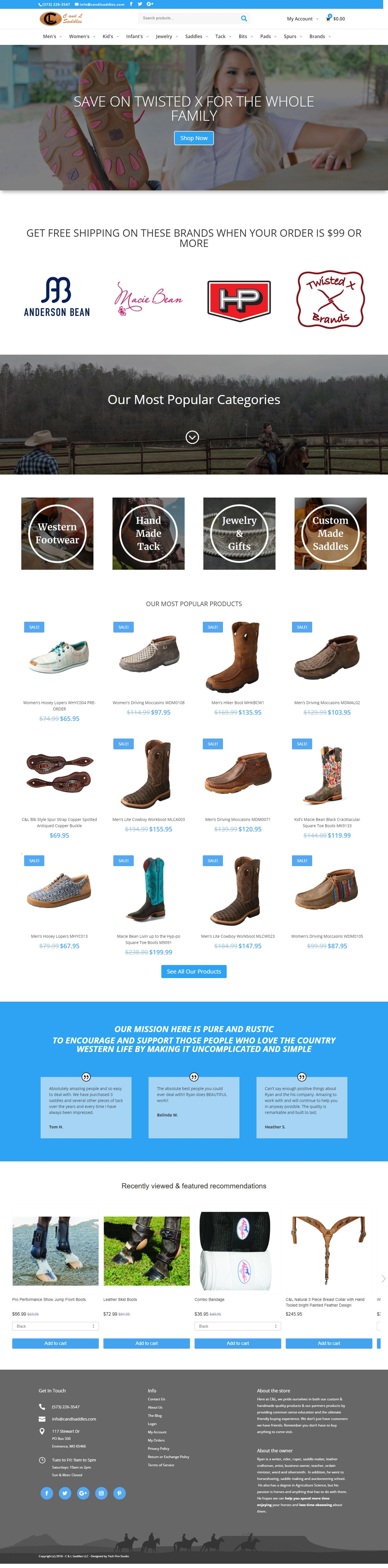 C&L Saddles – Website, E-Commerce store, Integrated Inventory Control System and Point of Sale for western sporting goods store in southern Missouri.