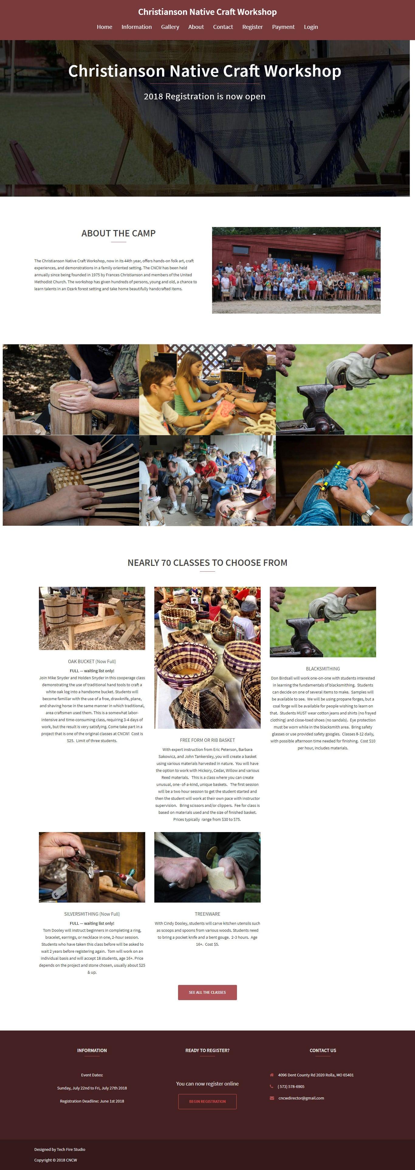 Christianson Native Craft Workshop – Website, Online Event Registration & Payment for a folk-arts and craft workshop camp.