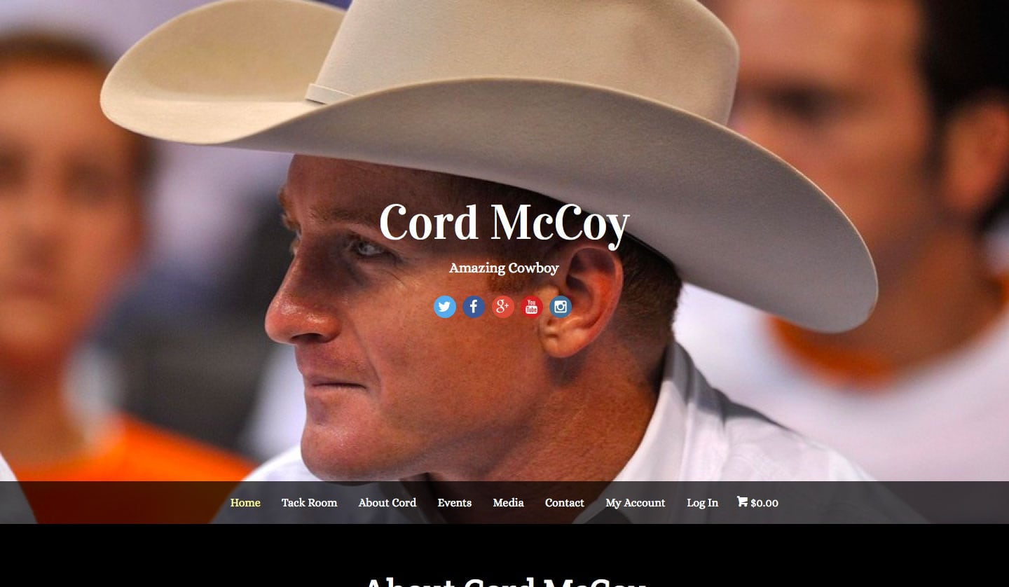 Cord McCoy – Website, E-Commerce store and blog for professional bull rider