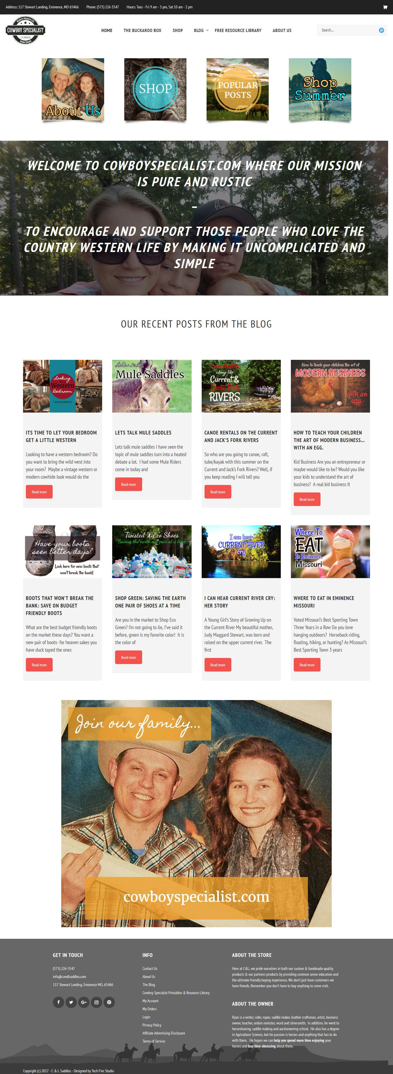 Cowboy Specialist – Webiste, Blog, and subscription based E-commerce store for western lifestyle blog